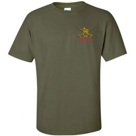 UK Military cotton T-Shirt with British Army embroidered cap badges, Royal Navy, Royal Marines and RAF.